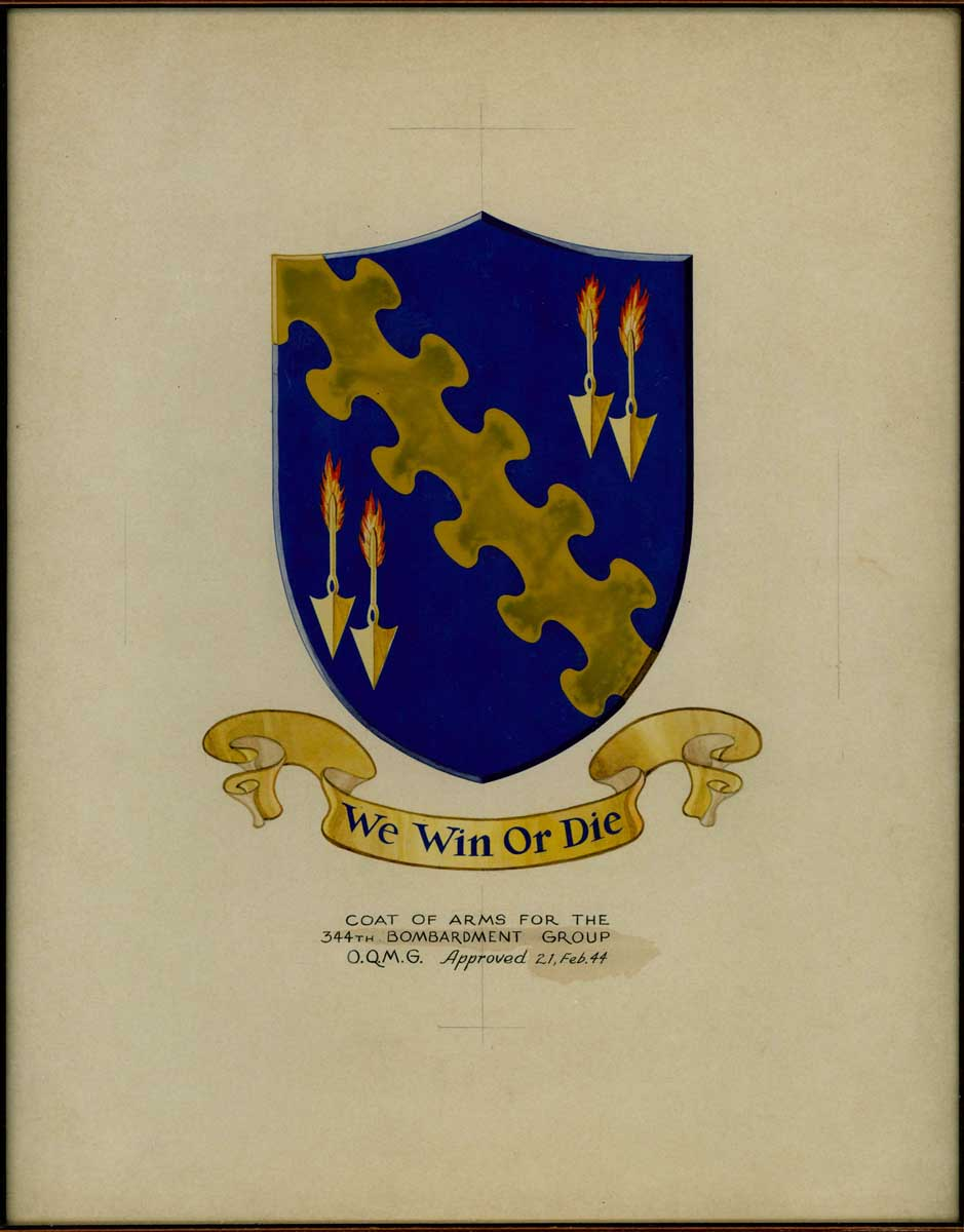 USAAF B 26 Marauder 344th Bombardment Group crest We Win or Die approved 21st Feb 1944 0A
