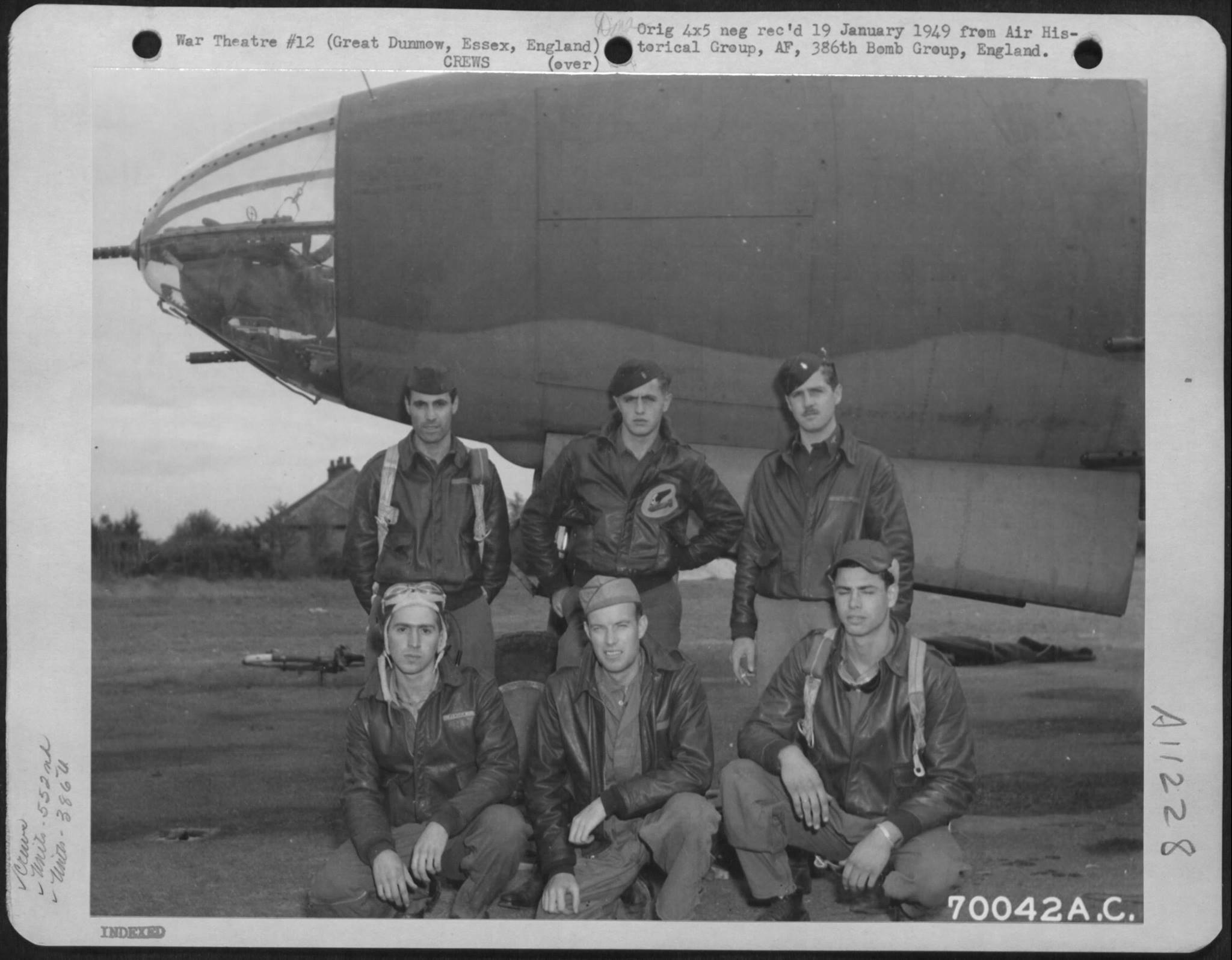 USAAF B 26 Marauder 386BG552BS with crew at their base in Great Dunmow Essex England 14 Sep 1943 02