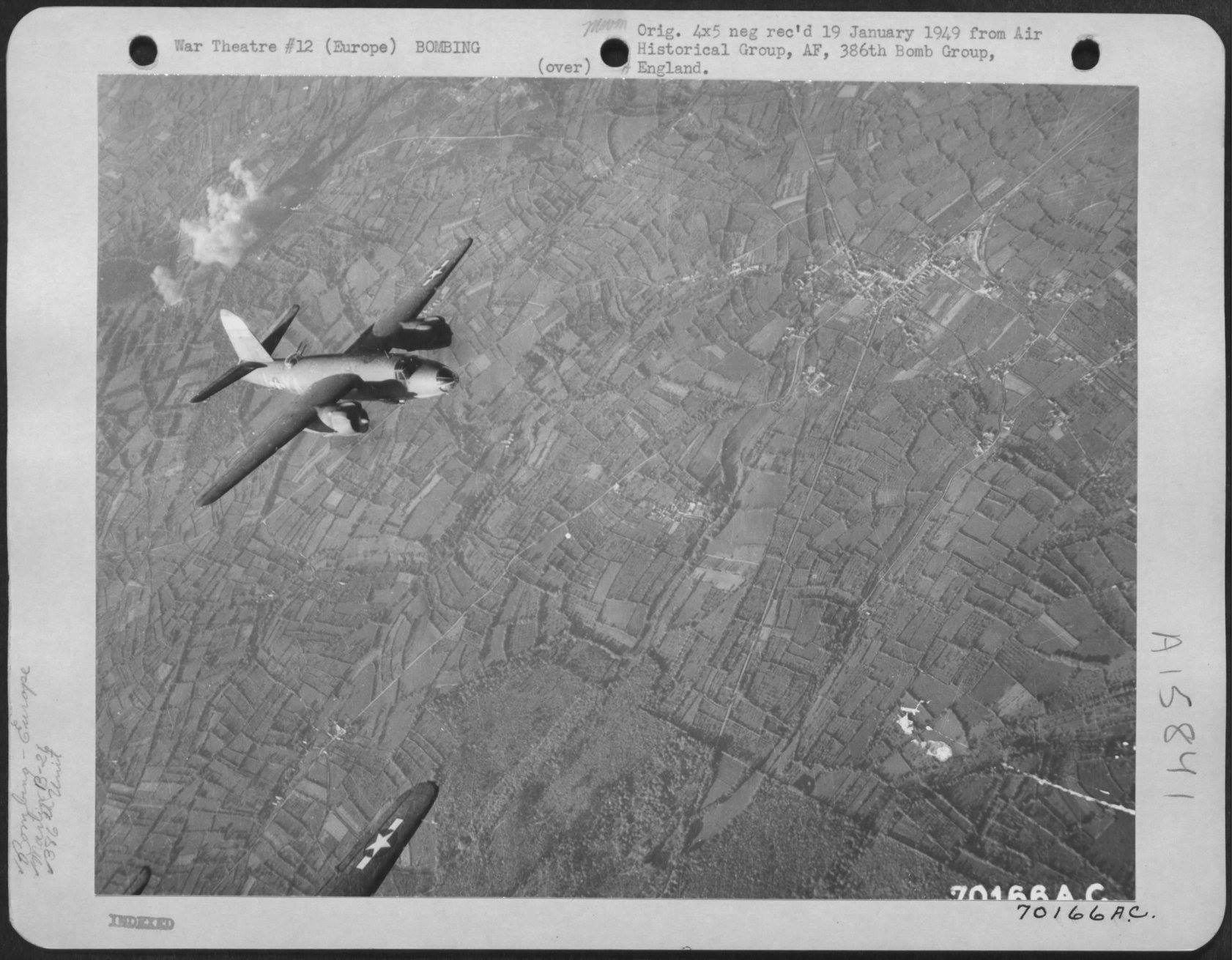 USAAF B 26 Marauder 386BG555BS YAJ leaving the target area 1 Jun 1944 01