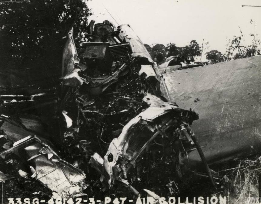 USAAF B 26 Marauder 394BG after a mid air collision with a P 47 Thunderbolt 56FG62FS UN B Lt Elliott 17 May 1944 01