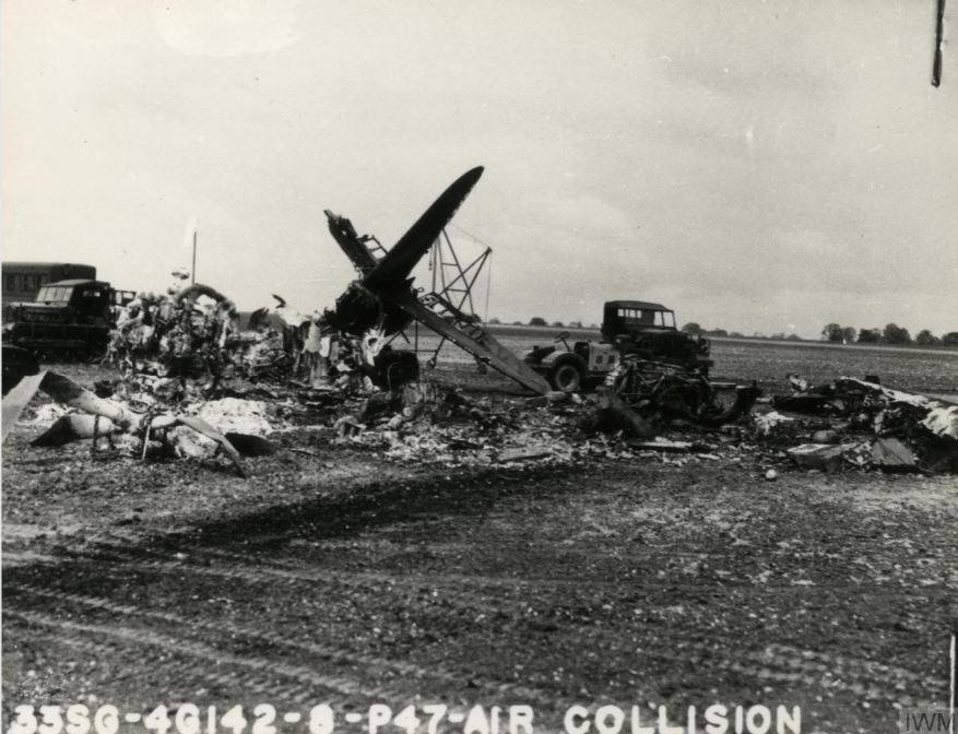 USAAF B 26 Marauder 394BG after a mid air collision with a P 47 Thunderbolt 56FG62FS UN B Lt Elliott 17 May 1944 02