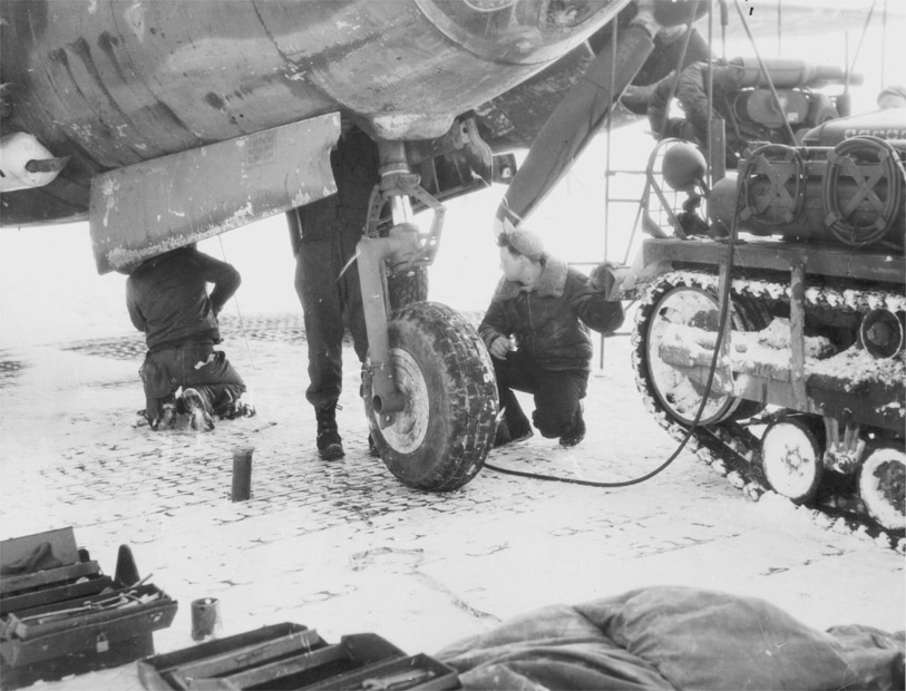 USAAF B 26 Marauder 9AF maintenance during harsh winter conditions early 1945 01