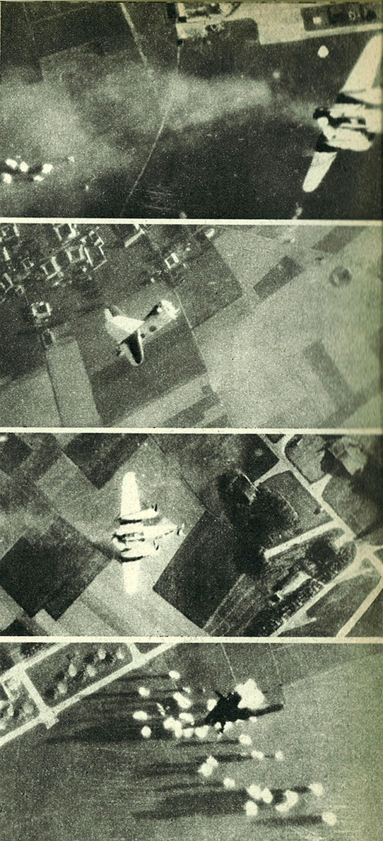 USAAF B 26 Marauder falling to earth after a direct flak hit over a French occupied aerodrome 01