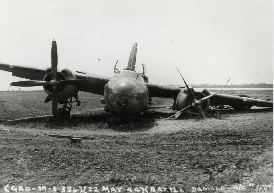 USAAF B 26 Marauder landed with battle damage to its left undercarriage leg England 22 May 1944 41 17624 41 31624 41 35624