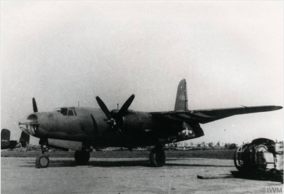USAAF B 26 Marauder parked on a hardstanding at Dijon Longvic airfield in October 1944 01