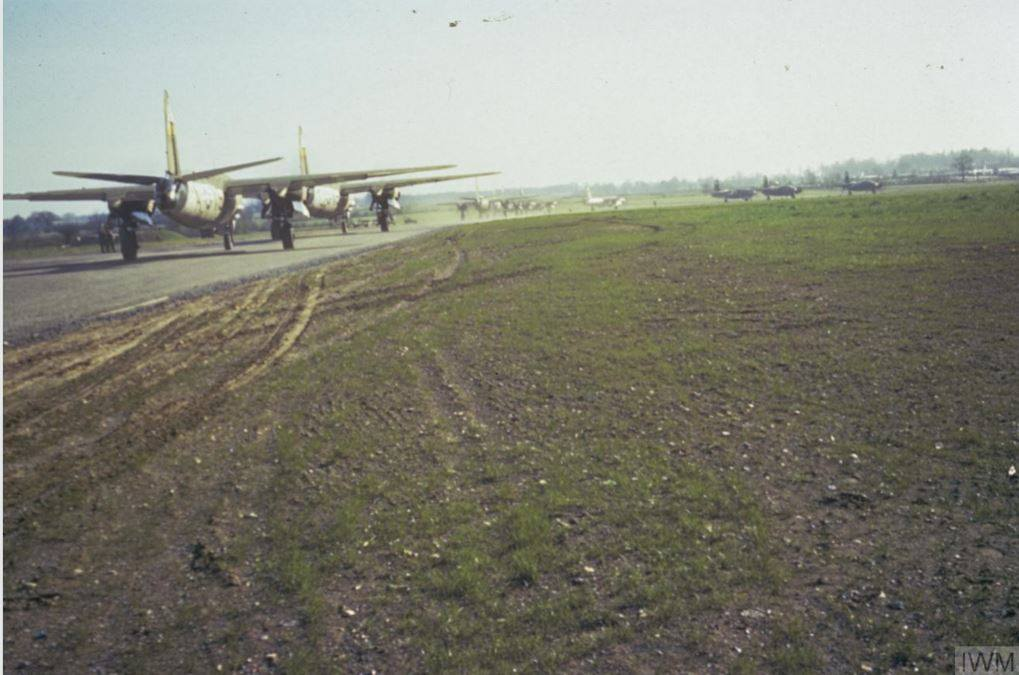 USAAF B 26 Marauders 344BG line up for take off England May 1944 01