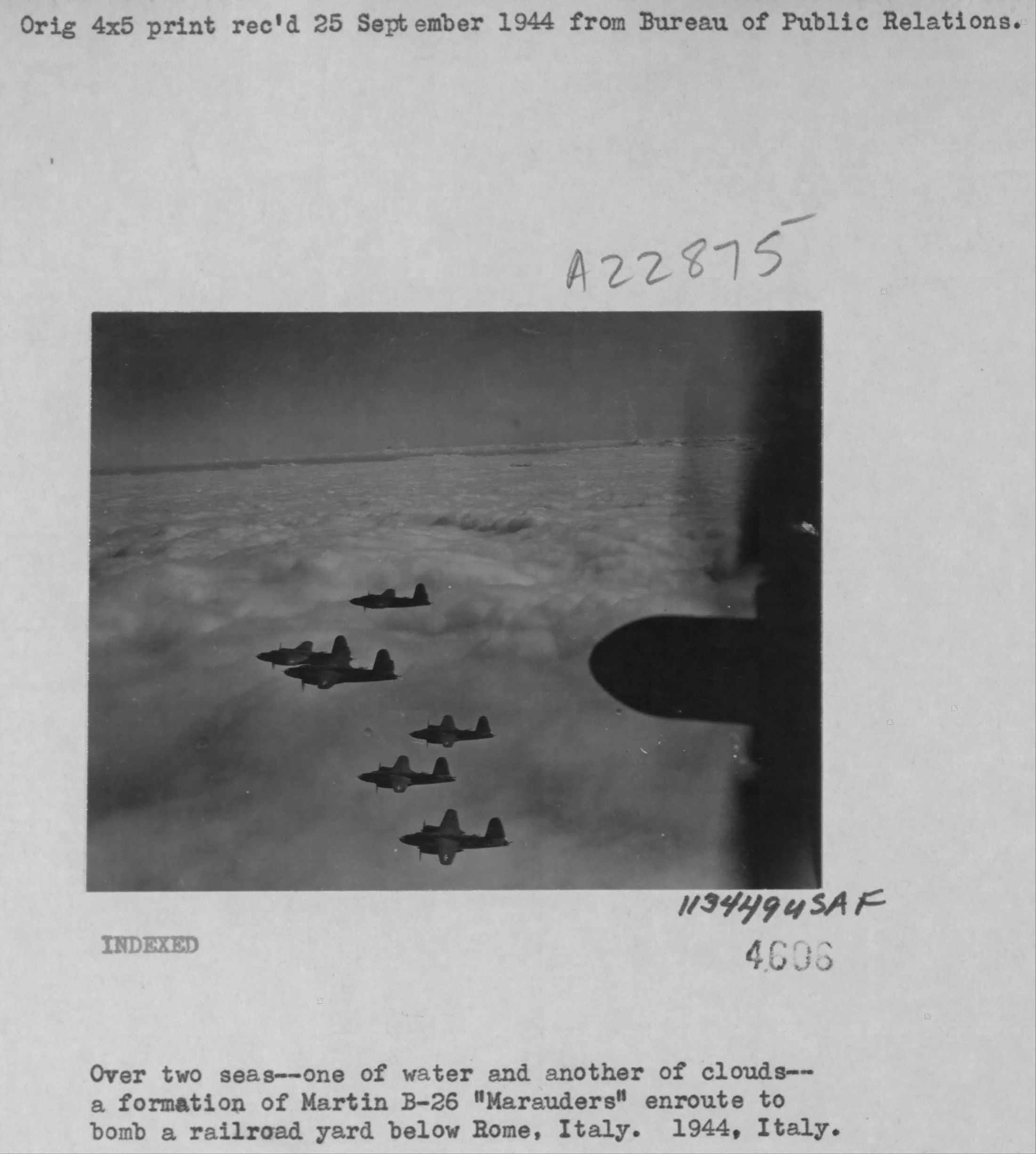 USAAF B 26 Marauders enroute to bomb a RR yard in Rome Italy 1944 01