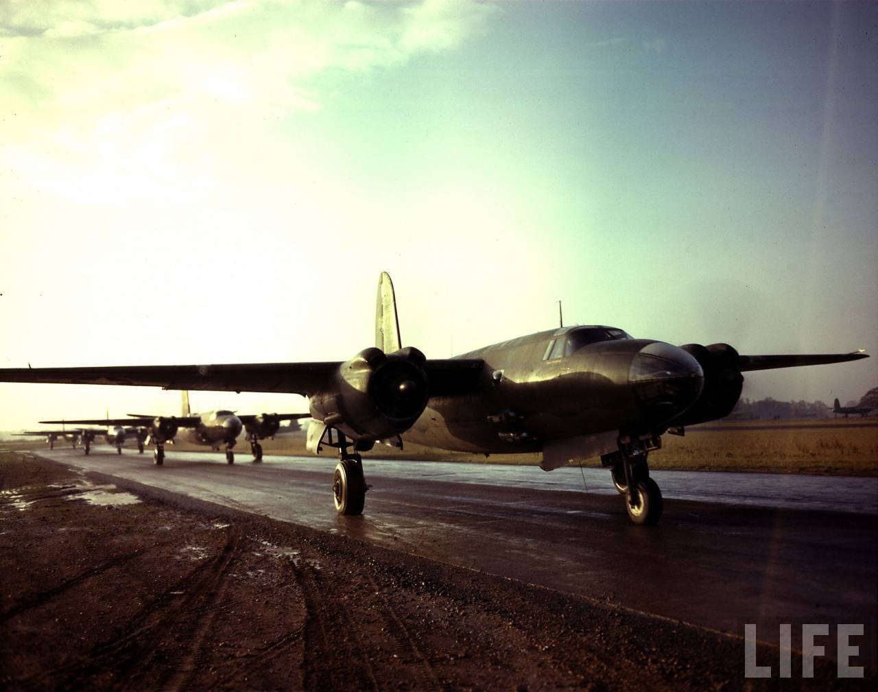USAAF B 26 Marauders lined up waiting to take off for mission to France 1943 01