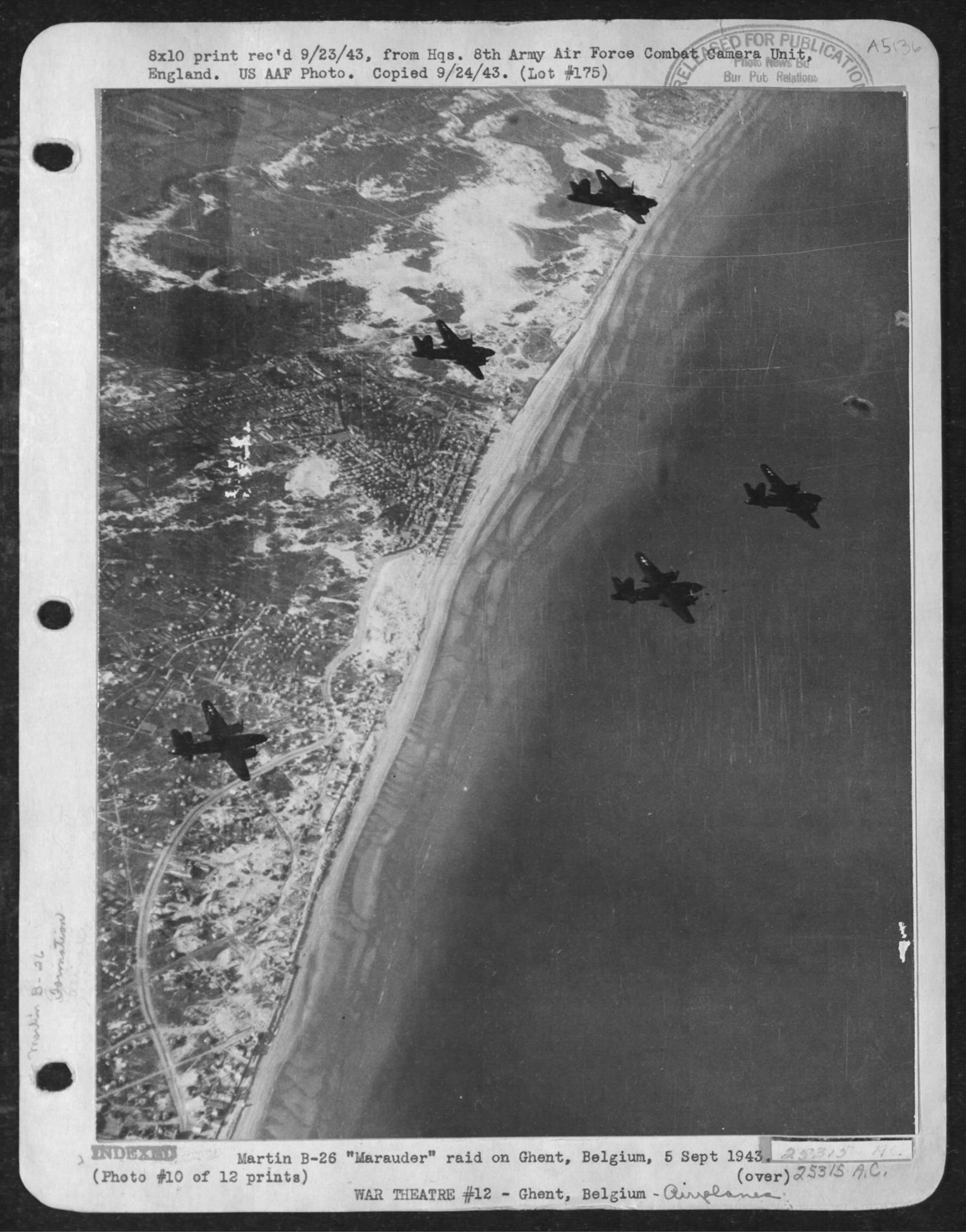 USAAF B 26 Marauders on a raid to Ghent Belgium 5 Sep 1943 02