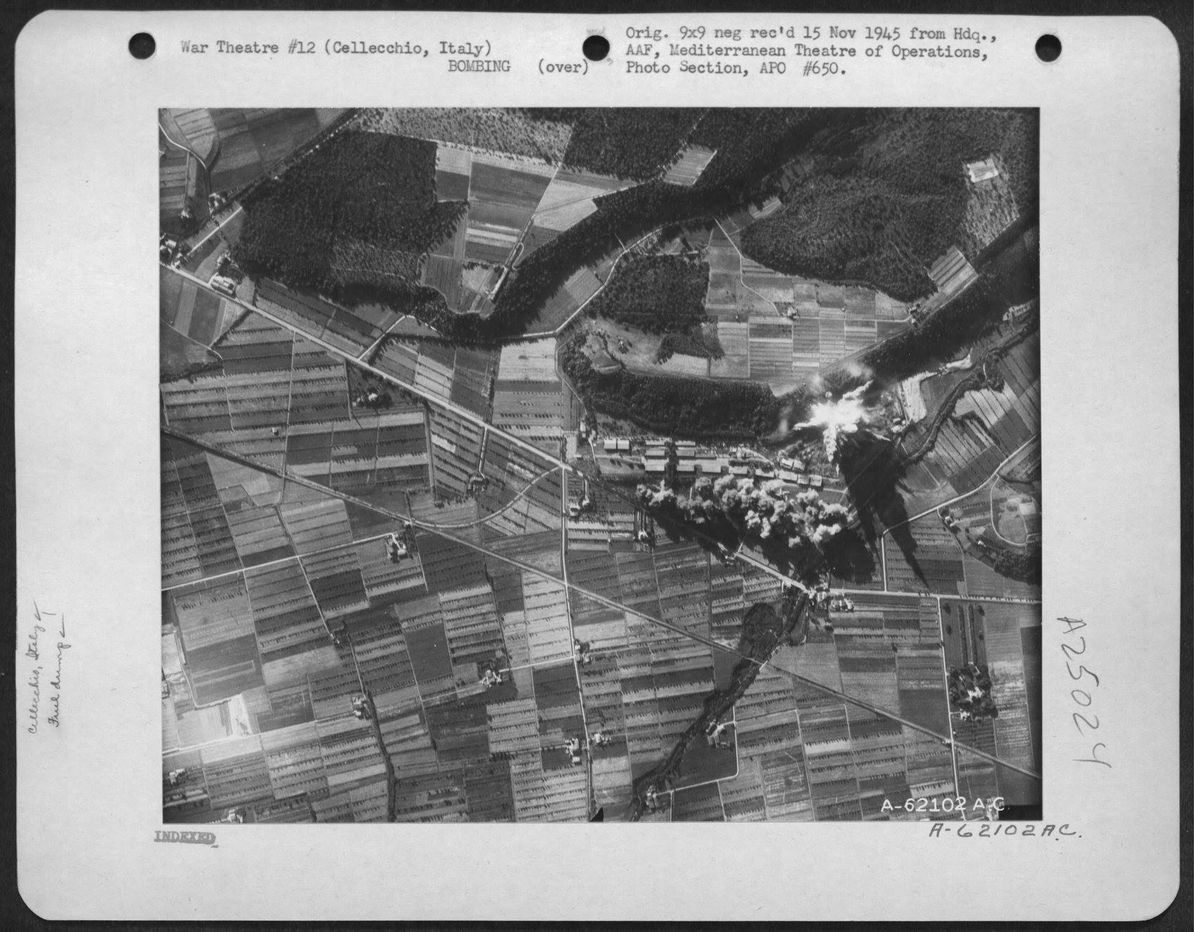 USAAF B 26 Marauders with pin point accuracy hit the Storage Dumps nr Cellecchio Italy 7 Jul 1944 02