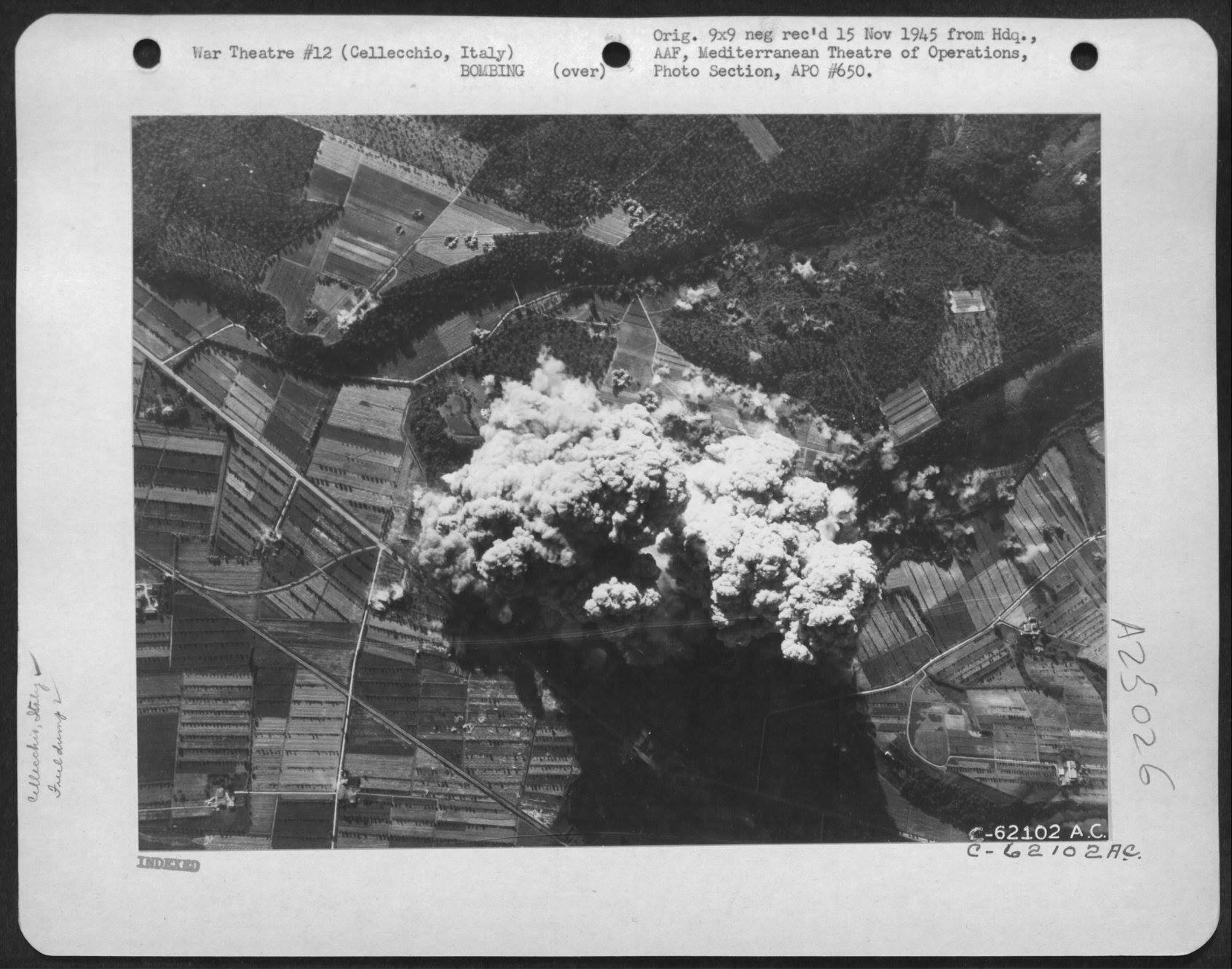 USAAF B 26 Marauders with pin point accuracy hit the Storage Dumps nr Cellecchio Italy 7 Jul 1944 03
