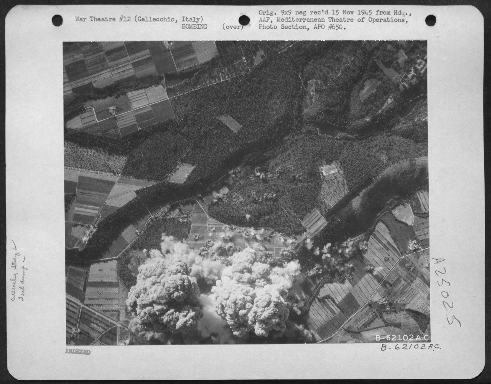 USAAF B 26 Marauders with pin point accuracy hit the Storage Dumps nr Cellecchio Italy 7 Jul 1944 04