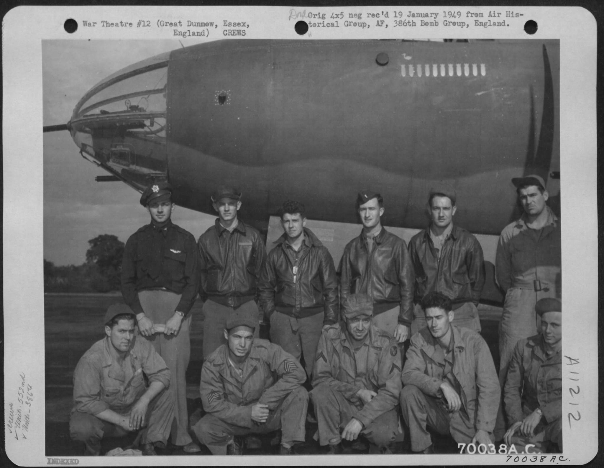 USAAF B 26B Marauder 386BG552BS with crew England 1 Sep 1943 01