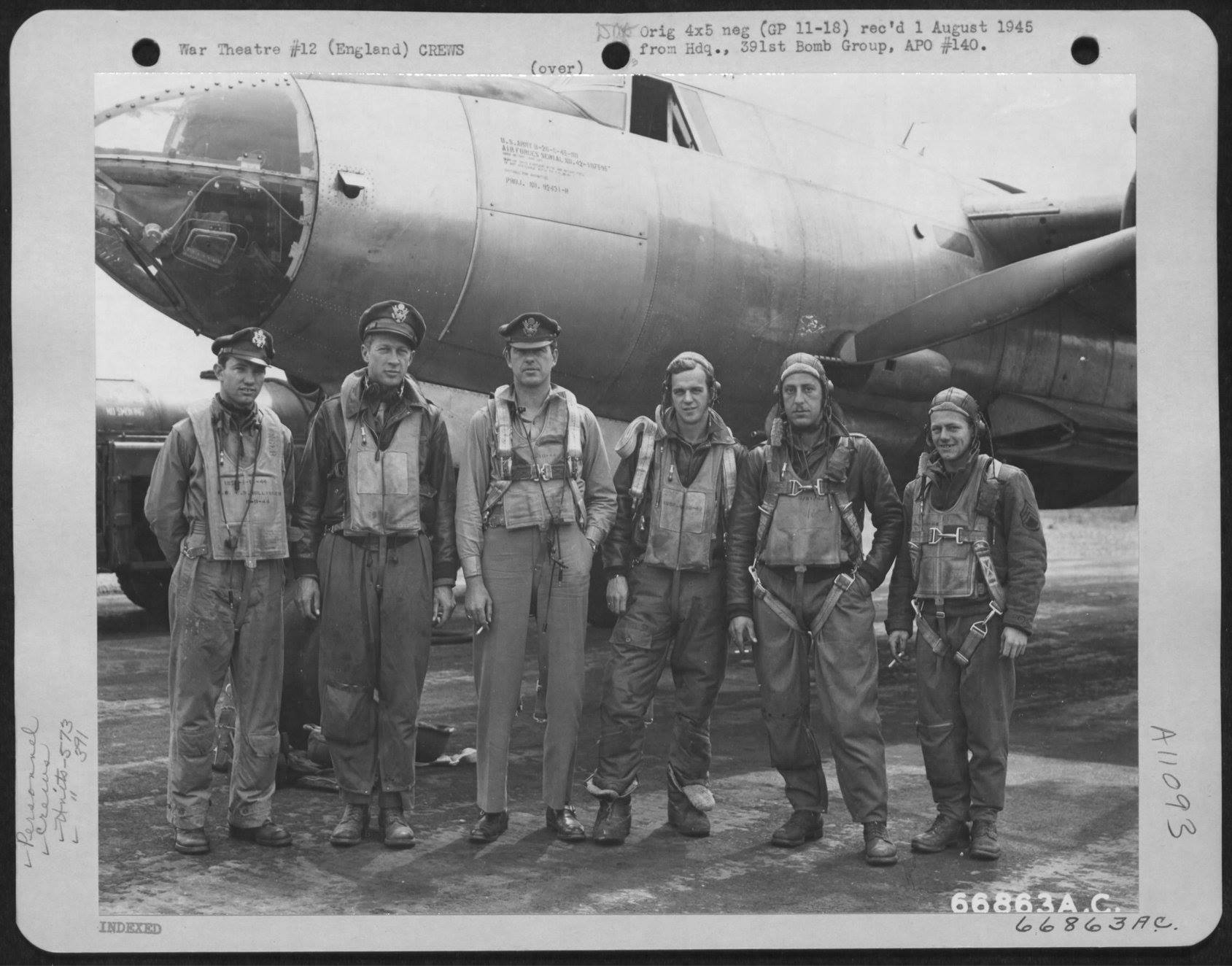 USAAF B 26B Marauder 391BG573BS with Lt Bollinger and crew England 5 Aug 1944 01