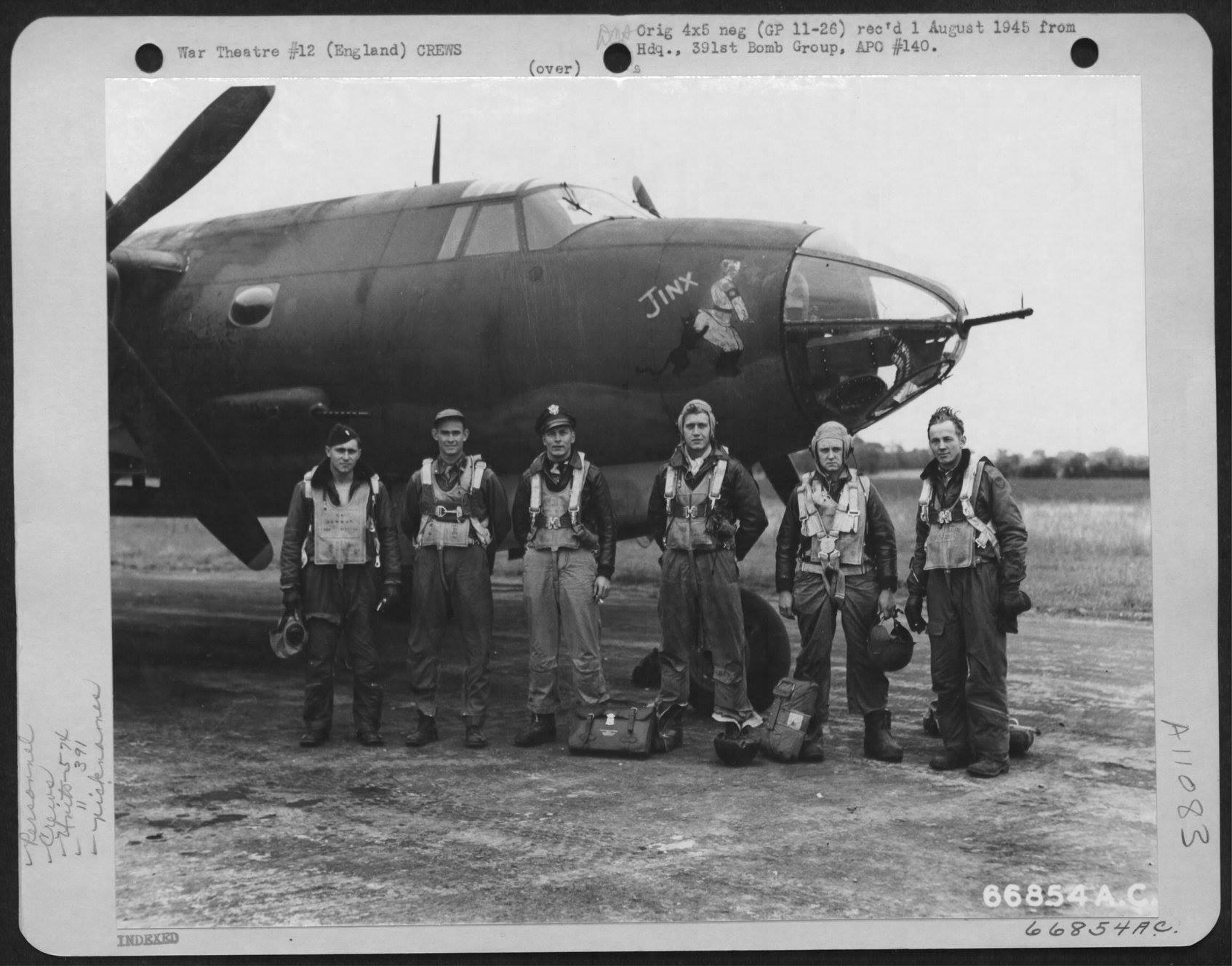 USAAF B 26B Marauder 391BG574BS Jinx with Lt Newman and crew England 16 Aug 1944 01