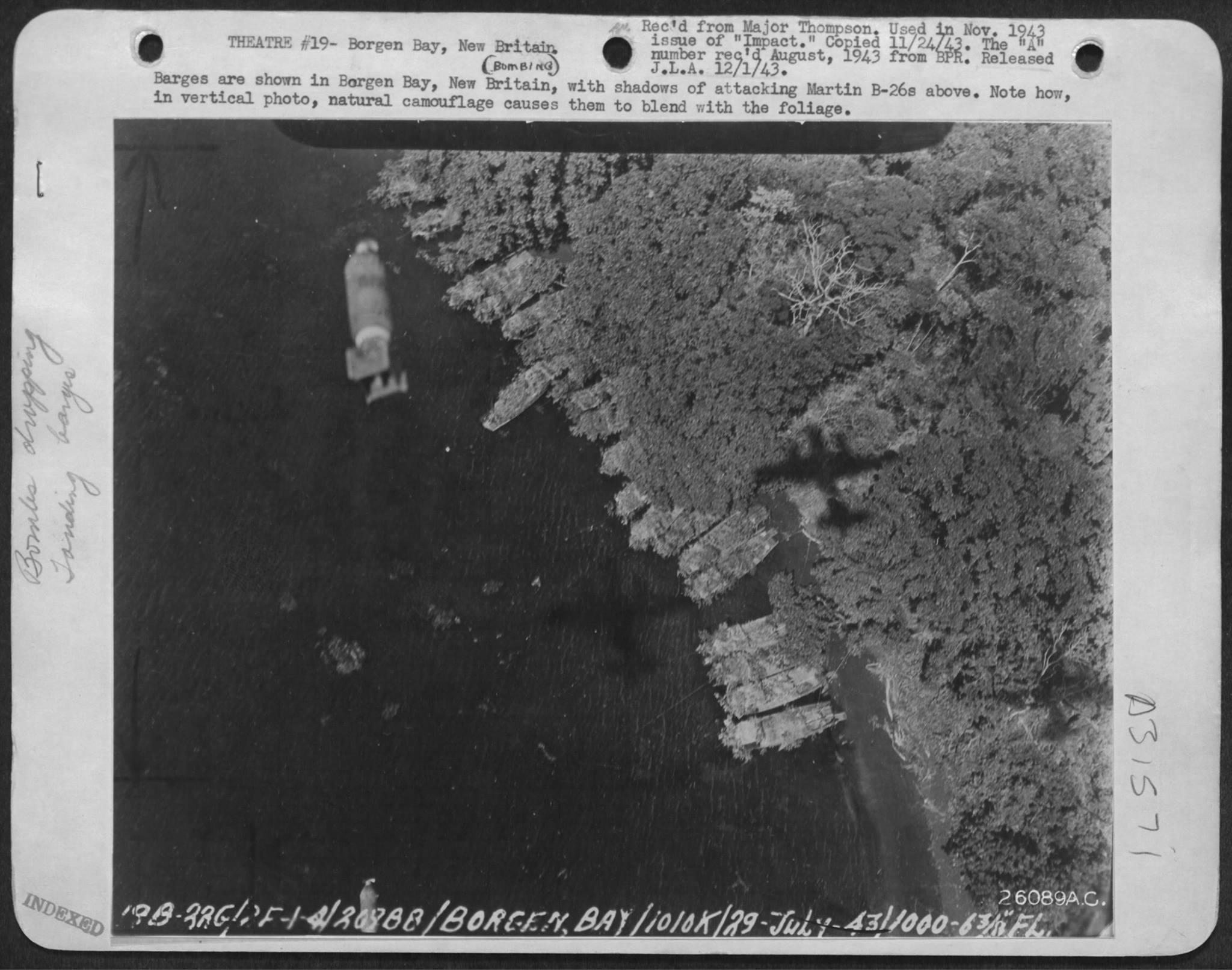 USAAF B 26B Marauder 5AF bombing Barges in Borgen Bay New Britain note shadows of attacking USAAF B 26s above Nov 1943 01