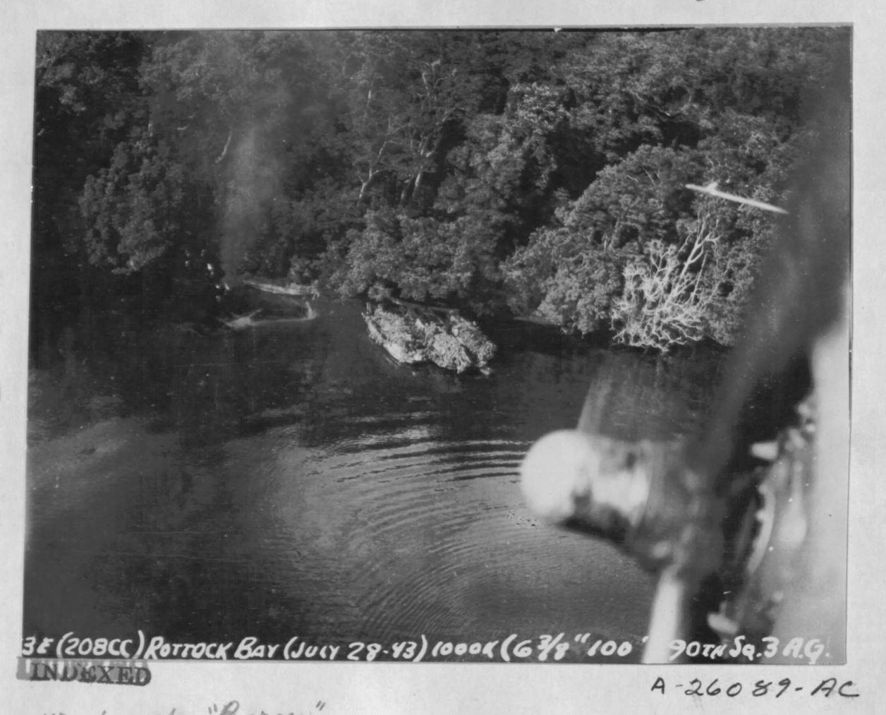 USAAF B 26B Marauder 5AF bombing Barges in Borgen Bay New Britain note shadows of attacking USAAF B 26s above Nov 1943 021