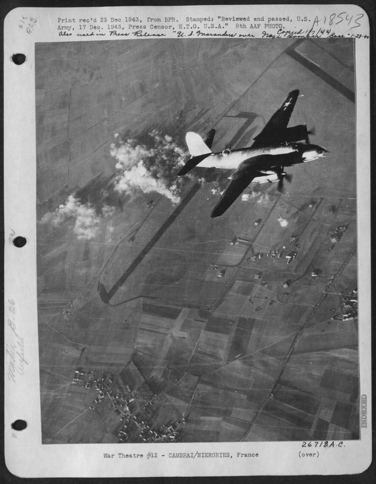 USAAF B 26B Marauder over the target at Cambrai Niergries France 23 Dec 1943 01