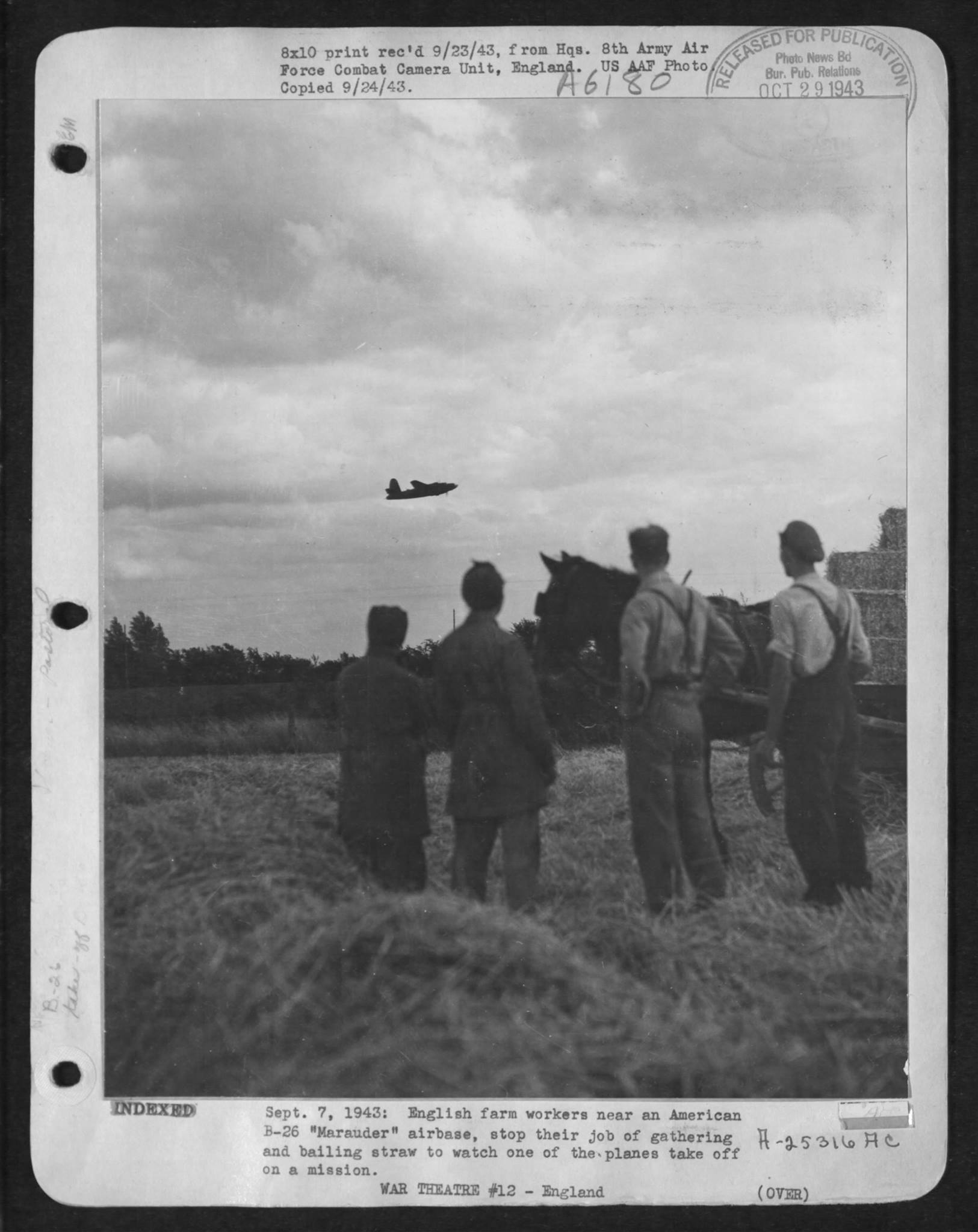 USAAF B 26B Marauder takes off for another mission is watched by English farmers 1943 01
