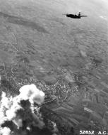 Asisbiz USAAF 42 107622 B 26C Marauder 323BG453BS VTW over railway yards at Armentieres 1944 03