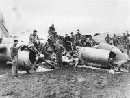 Asisbiz USAAF 42 96138 B 26B Marauder 397BG598BS U2C By Golly belly hit by fighters landed and burned France 9 Jul 1944 01
