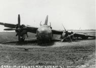 Asisbiz USAAF B 26 Marauder landed with battle damage to its left undercarriage leg England 22 May 1944 41 17624 41 31624 41 35624