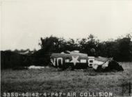 Asisbiz USAAF P 47 Thunderbolt 56FG62FS UN B Lt Elliott after a mid air collision with a B 26 Marauder 394BG 17 May 1944 01