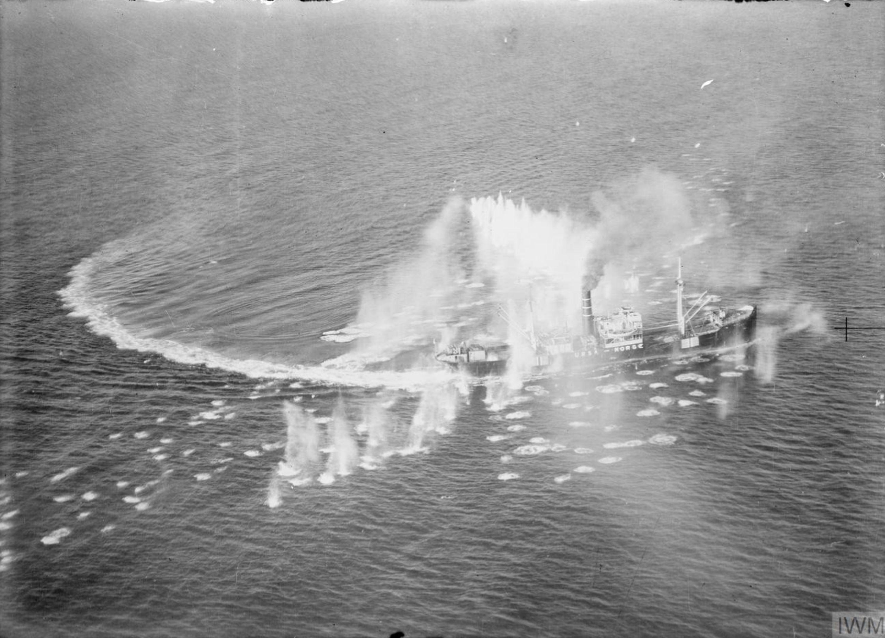 Banff Strike Wing n RAF 144Sqn attack Norwegian DS URSA which avoids being sunk 19th Sep 1944 IWM C4835