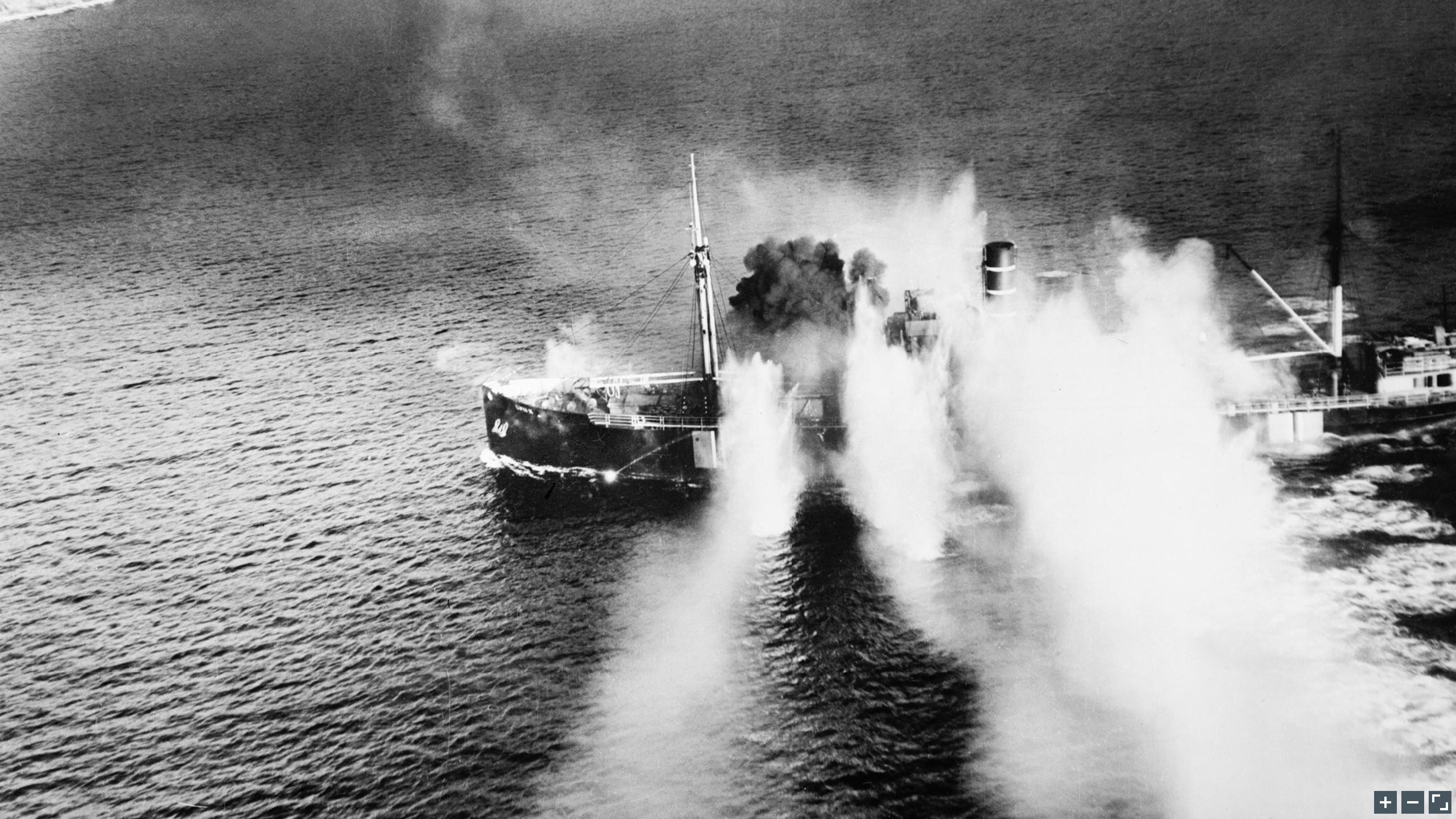 Beaufighter Banff Strike Wing sink 1,367 ton merchant vessel LYNX in Stav Fjord Norway 19 Sep 1944 IWM C4657a