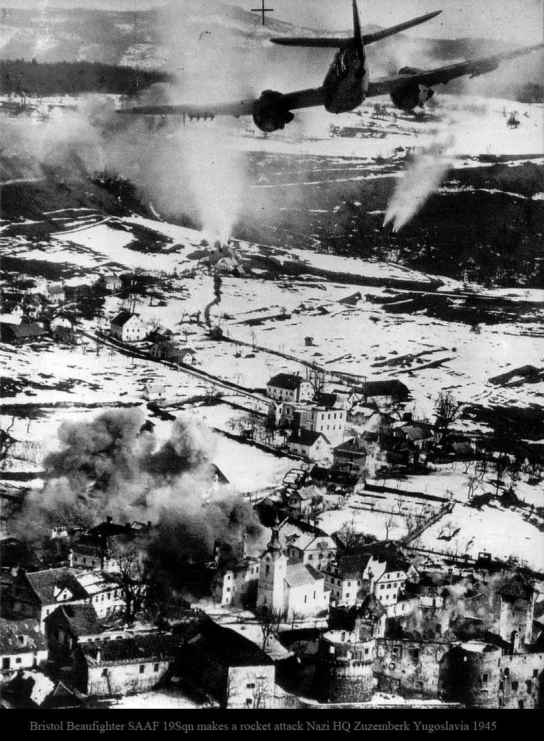 Beaufighter SAAF 19Sqn makes a rocket attack Nazi HQ Zuzemberk Yugoslavia 1945 01