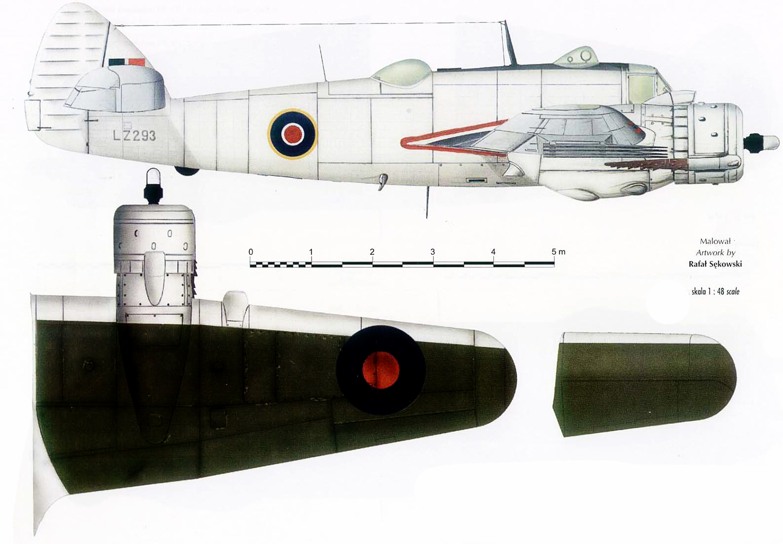 Beaufighter TFX Coastal Command LZ293 with ASV radar England 1944 Profile 0A