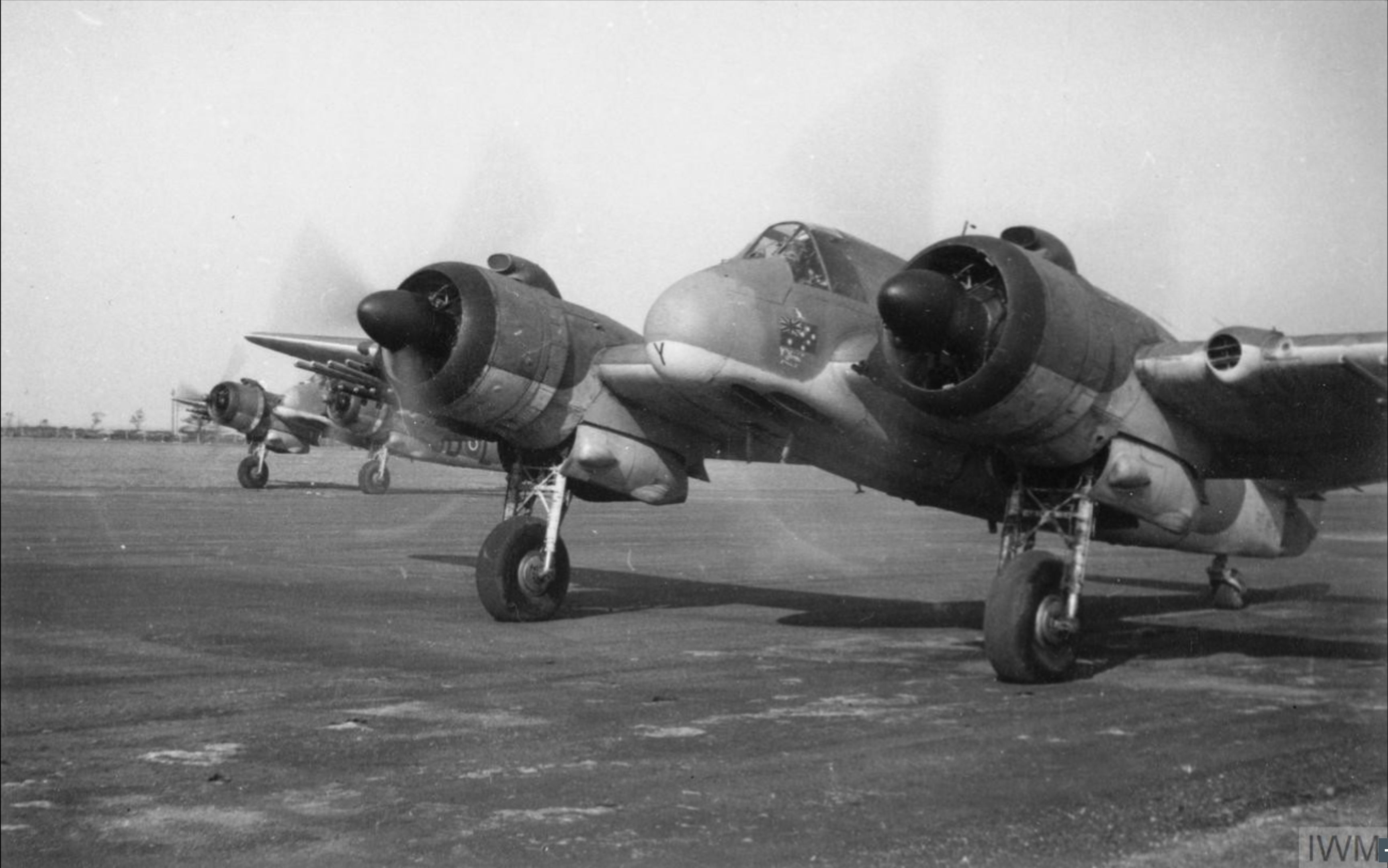 Beaufighter TFX RAAF 455Sqn MBY MBL line up on the runway at Dallachy Morayshire prior to take off IWM HU90826