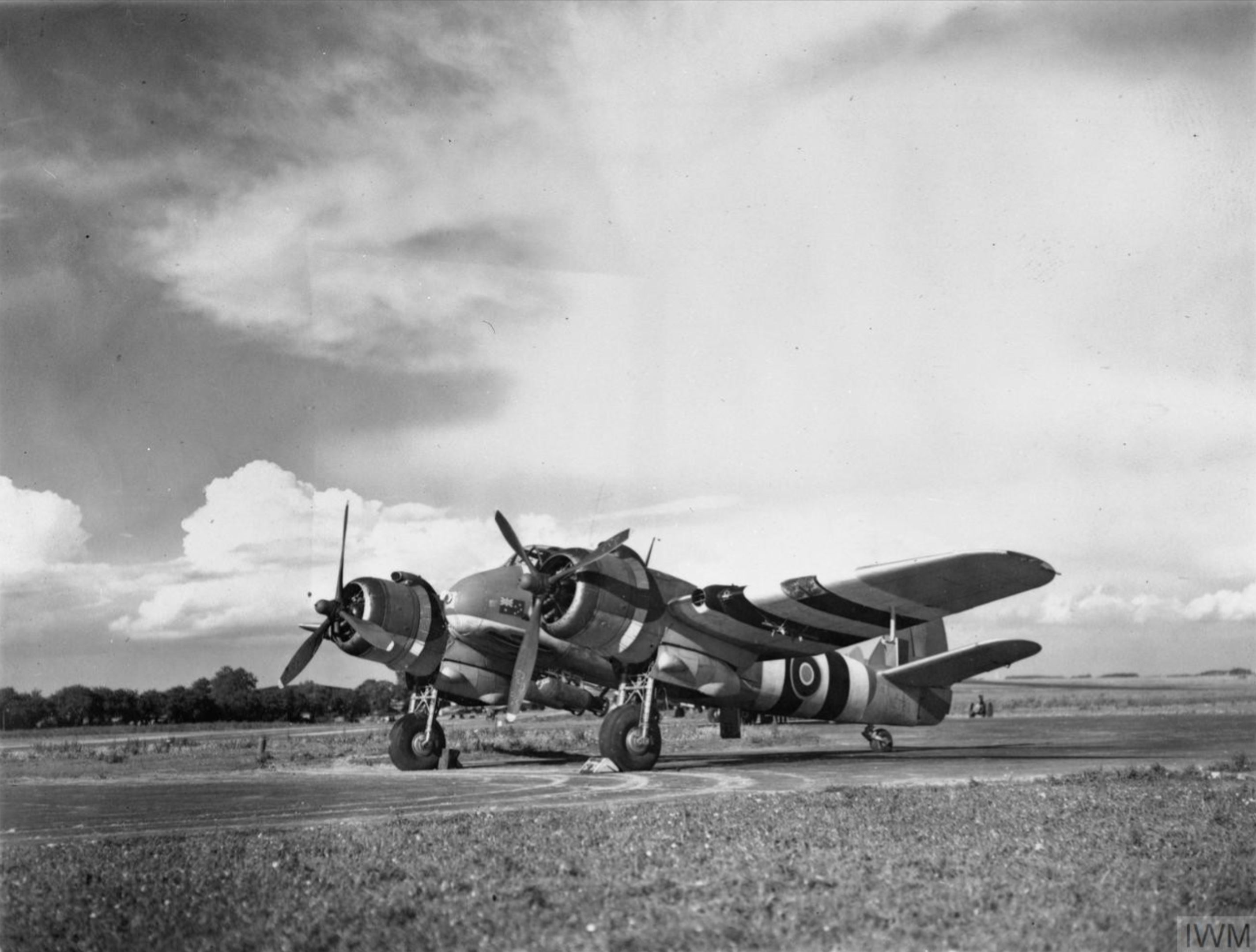 Beaufighter TFX RAAF 455Sqn NE798 in its dispersal at Langham Norfolk carrying two 500lb MC bombs 1944 IWM MH6451