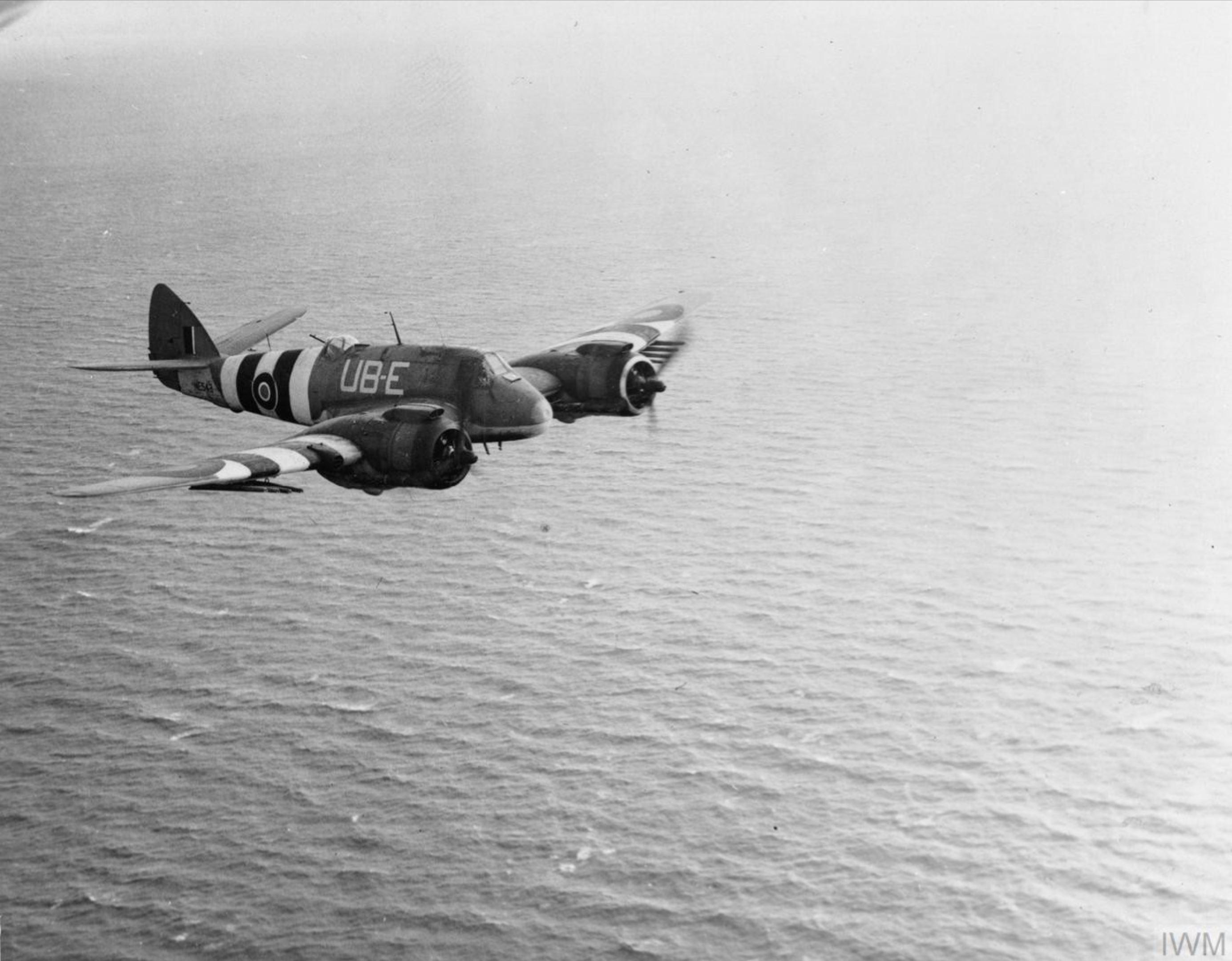 Beaufighter TFX RAAF 455Sqn UBE NE543 RAF Langham Norfolk over the North Sea June 1944 IWM MH6450