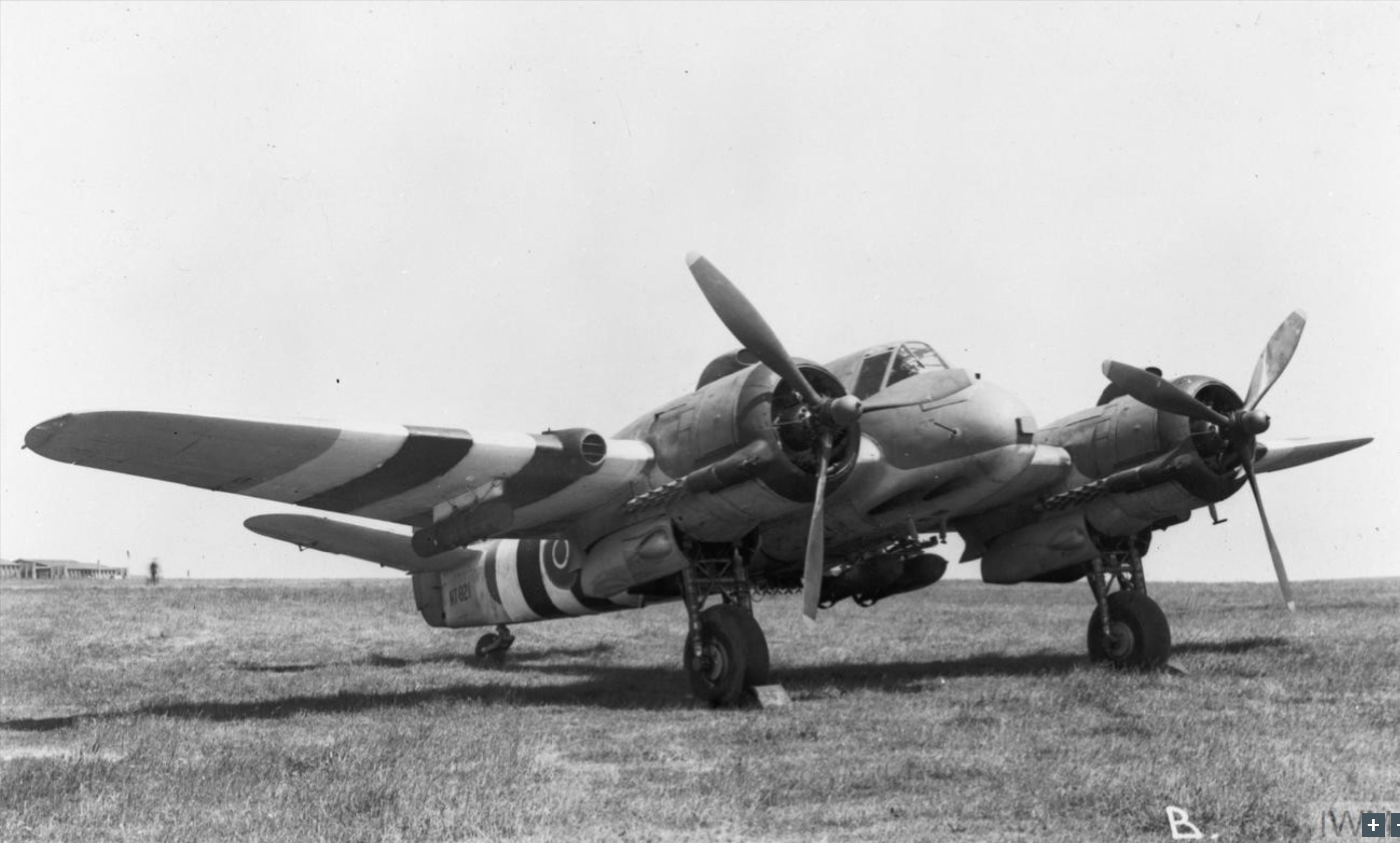 Beaufighter TFX RAF 254Sqn NT921 with two 250lb GP bombs n two 250lb depth charges AAEE Boscombe Down Wiltshire IWM MH5688