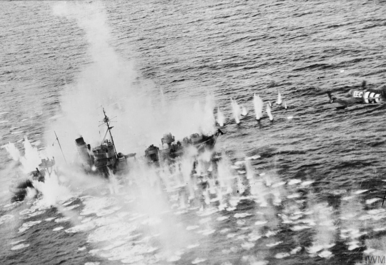 Beaufighter TFX RCAF 404Sqn EEC attacking German flak ship Vp1605 Mosel sank off Lillesand 15 Oct 1944 IWM C4944