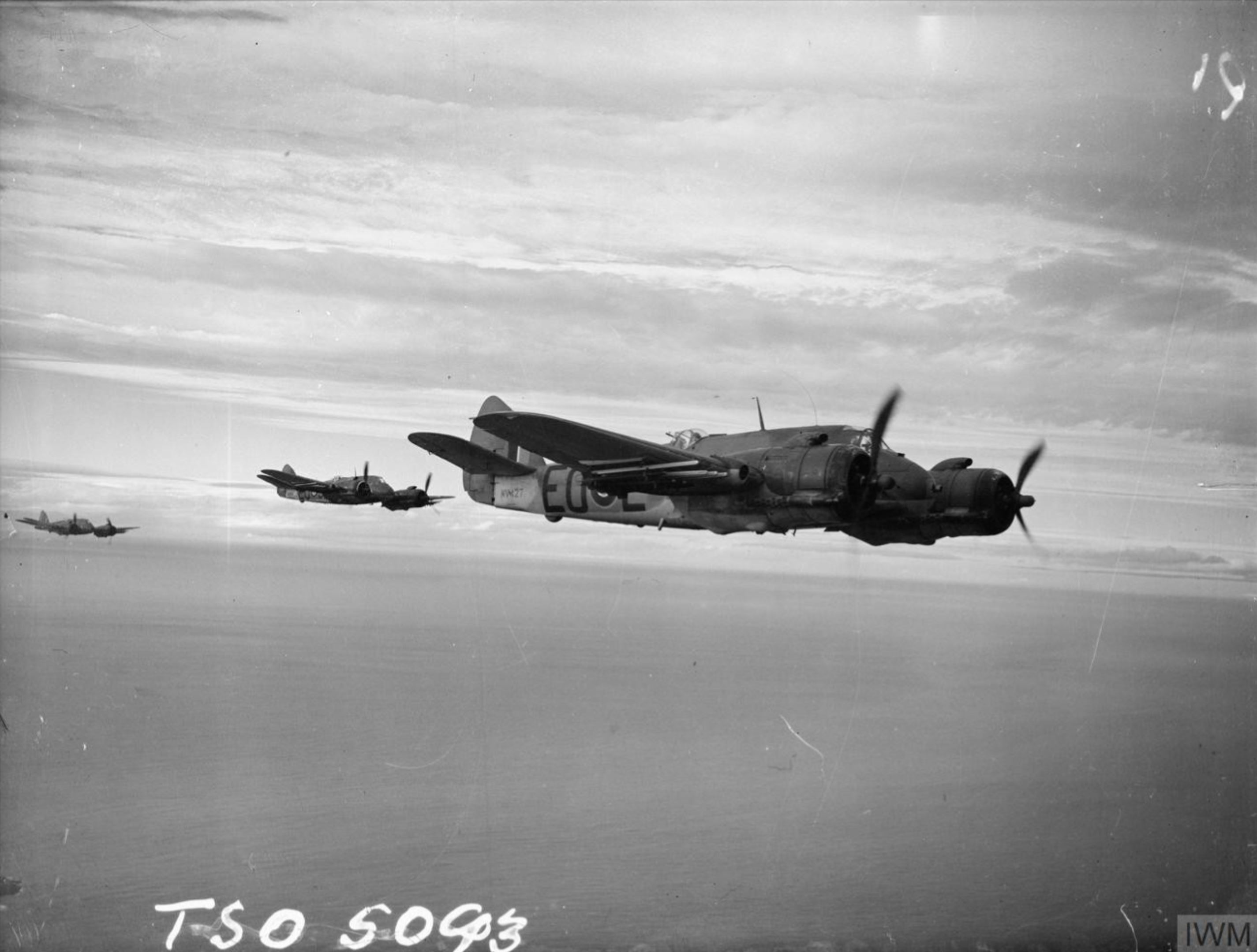 Beaufighter TFX RCAF 404Sqn EOL NV427 based at Dallachy Morayshire in flight along the Scottish coast IWM CH17869
