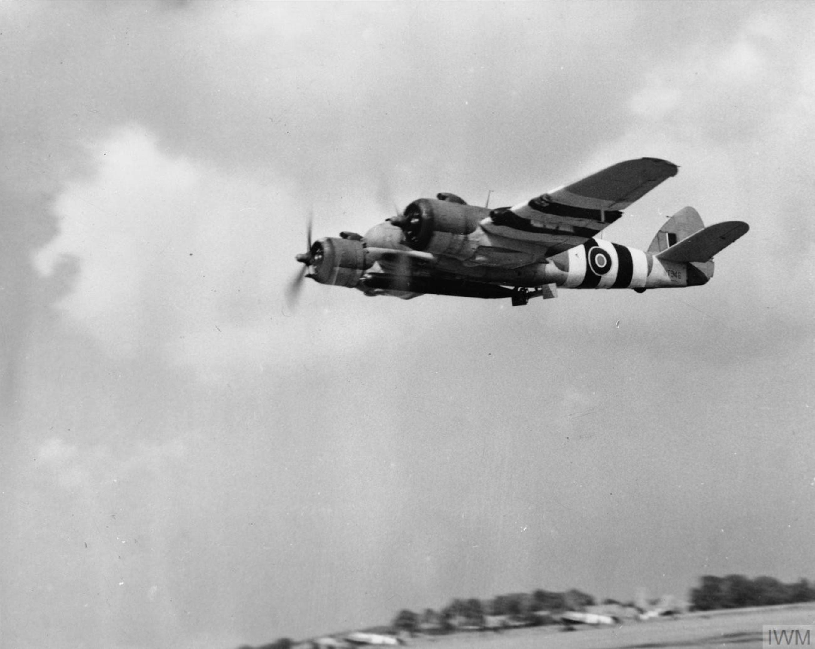 Beaufighter TFX RNZAF 489Sqn NT946 carrying an 18 inch torpedo leaves Langham Norfolk 1944 IWM MH6449
