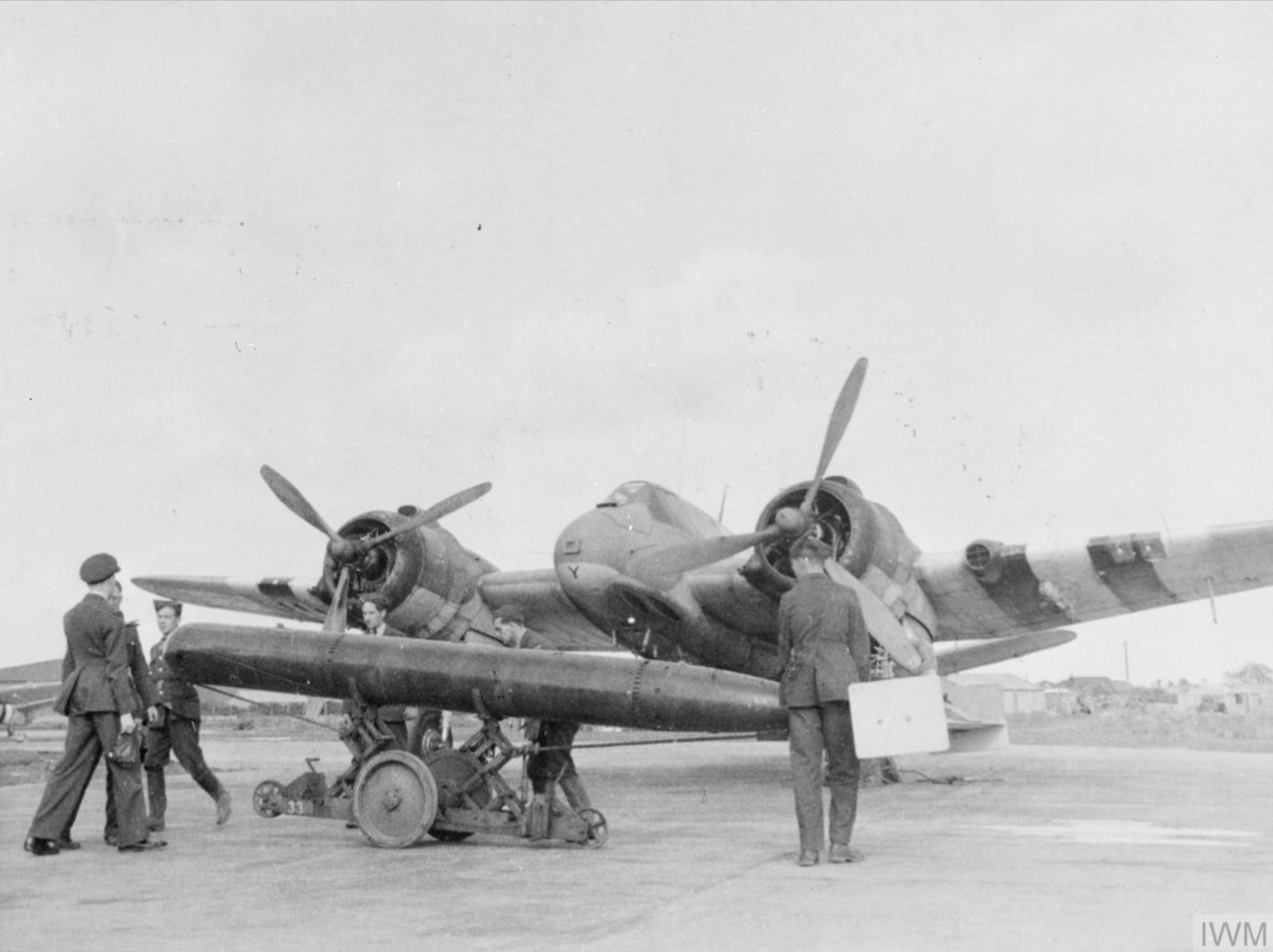 Beaufighter TFX RNZAF 489Sqn P6Y being rearmed at Langham Norfolk Jun Jul 1944 IWM HU81248