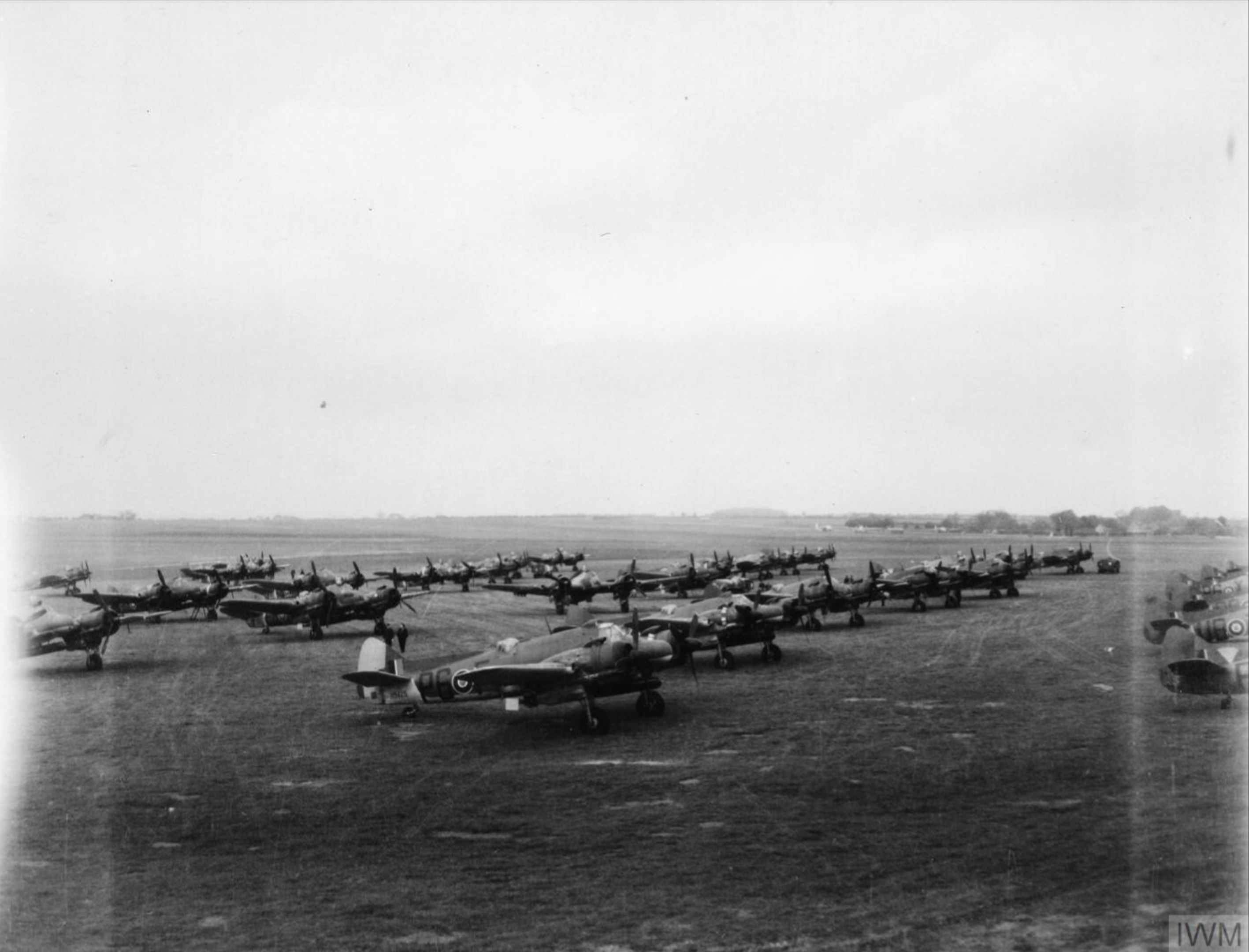 Beaufighter TFX RNZAF 489Sqn part of RAF Dallachy Strike Wing lined up at Dallachy Morayshire IWM HU93036