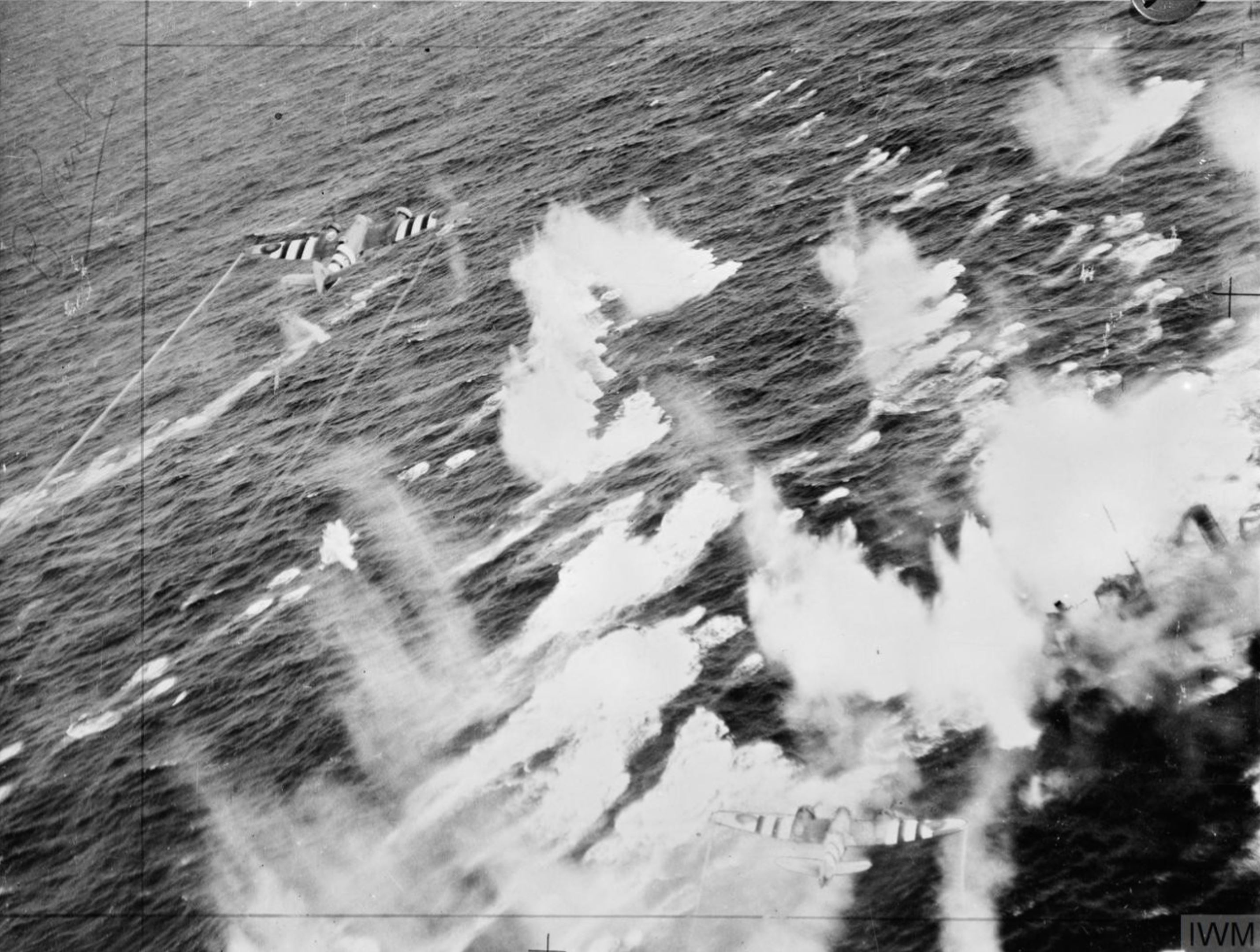 Beaufighter VI RAF 236Sqn after attacking enemy trawler auxiliaries which were sunk sw of Heligoland IWM C4489