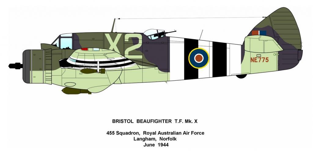 Beaufighter X RAAF 455Sqn X2 NE775 Langham Norfolk June 1944 Profile 0A