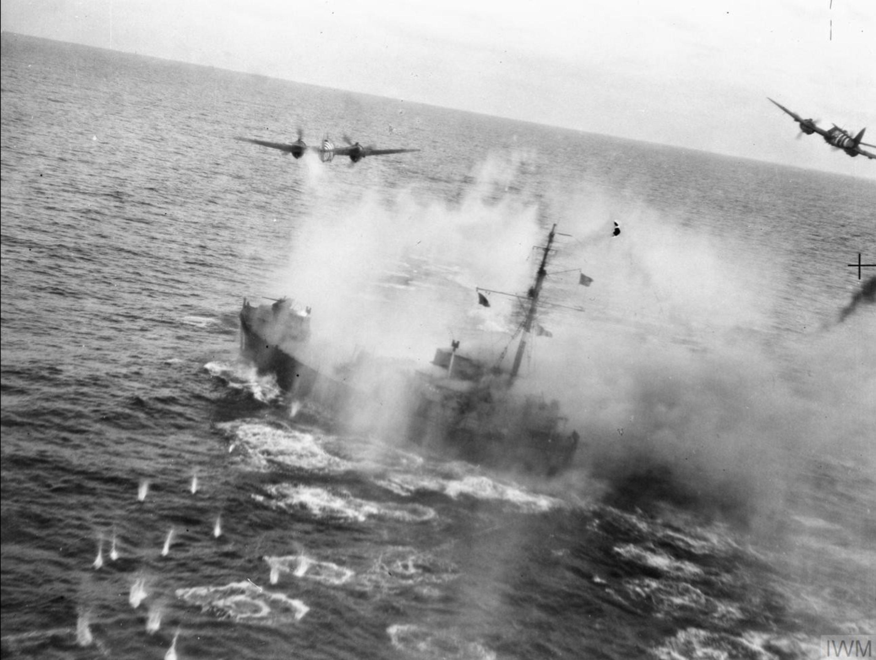 RAF Bristol Beaufighters at work shooting up a German coastal vessel 1944 02