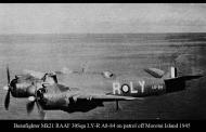 Asisbiz Beaufighter Mk21 RAAF 30Sqn LYR A8 84 on patrol off Morotai Island 1945