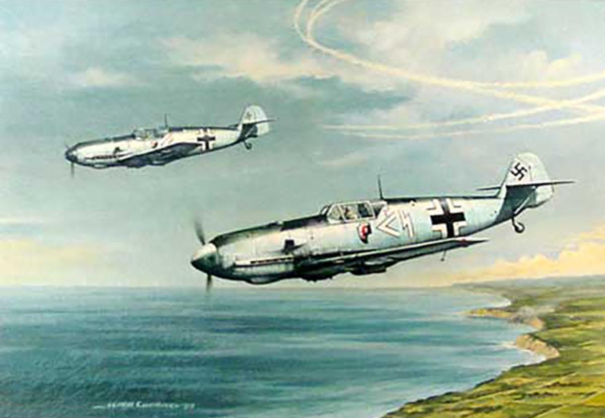 Artwork showing a painting of Reinhard Heydrich Bf 109E I.JG1 (z+ over Wangerooge 1941 0A