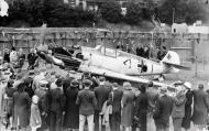 Asisbiz Messerschmitt Bf 109E1 Stab III.JG26 Werner Bartels WNr 6296 on display at Croydon Aug 1940 IWM HU73425