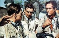 Asisbiz Aircrew Luftwaffe JG26 ace pilot and ex Olympian Joachim Muncheberg with flying comrades 01