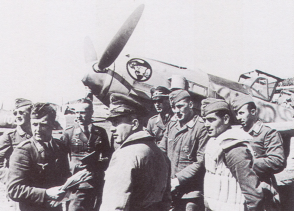 Aircrew Luftwaffe ace I.JG27 before their flight to North Africa 01