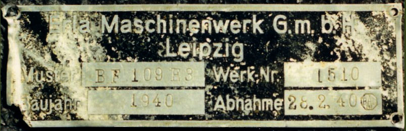 Aircraft manufacturers data plate from a Messerschmitt Bf 109E8 WNr 1510 3.JG52 Egon Gleser 01