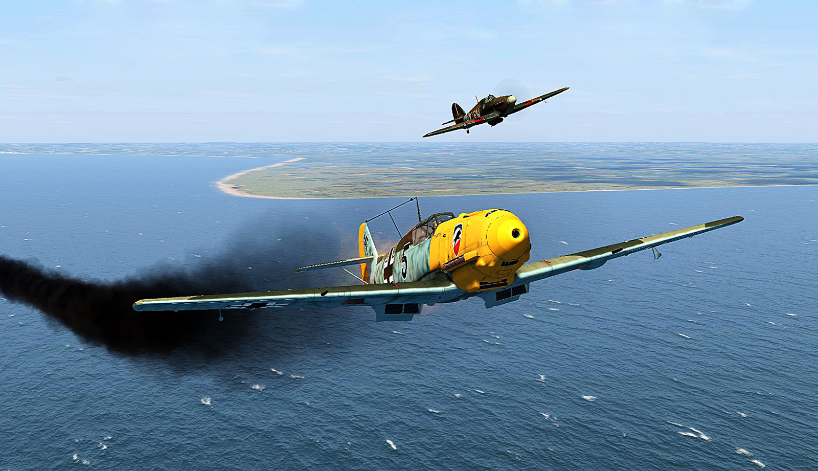 COD CF Bf 109E3 1.JG52 B5 Helmut Bennemann in serious trouble over the Channel V01